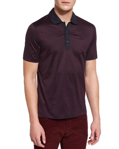 Micro-Stripe Short-Sleeve Polo Shirt, Navy/Burgundy
