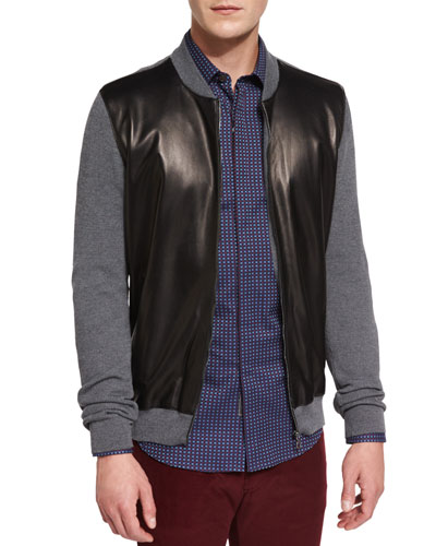 Gray Zip-Up Sweater w/ Faux-Leather Front, Gray