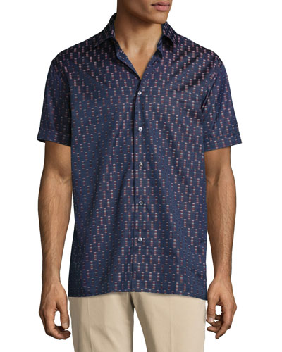 Rectangle-Print Short-Sleeve Woven Sport Shirt, Navy