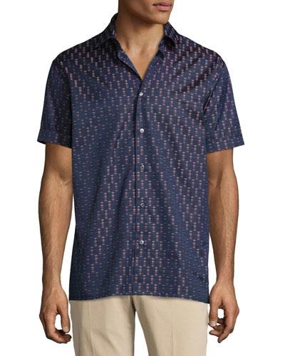 Rectangle-Print Short-Sleeve Woven Sport Shirt, Navy