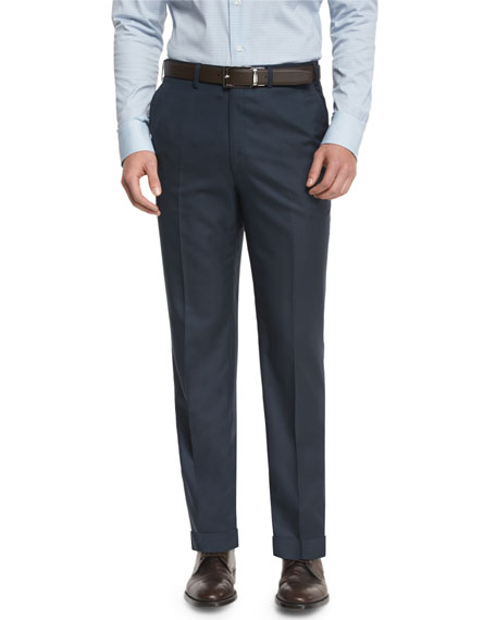 Phi Flat-Front Twill Trousers, Navy