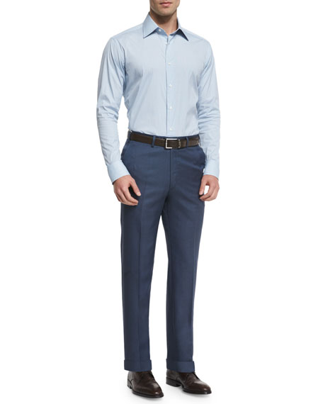 Phi Flat-Front Twill Trousers, Blue