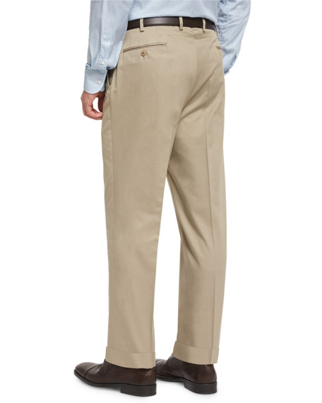 Phi Flat-Front Cotton-Cashmere Trousers, Tan