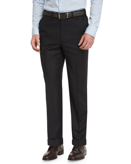 Brioni Phi Flat-Front Wool Trousers, Black