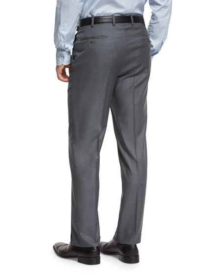 Phi Flat-Front Wool Trousers, Gray