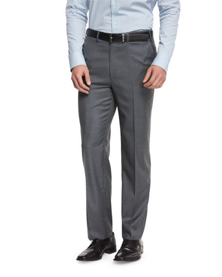 Brioni Phi Flat-Front Wool Trousers, Gray