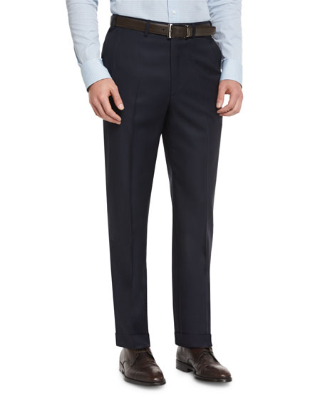 Phi Flat-Front Wool Trousers, Navy