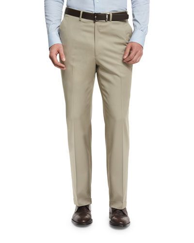 Phi Flat-Front Solid Wool Trousers, Tan