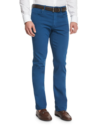 Ray Regular-Fit Five-Pocket Pants, Teal
