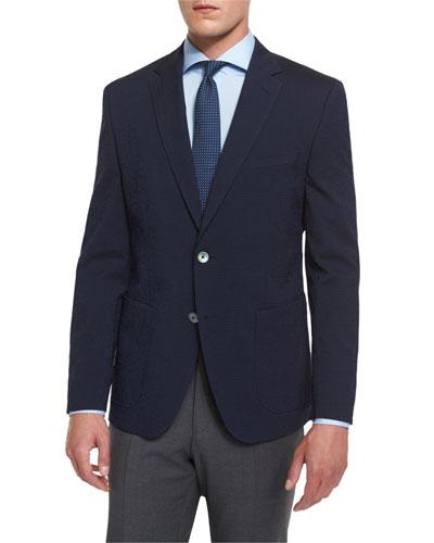 Janson Check Seersucker Two-Button Sport Coat, Navy