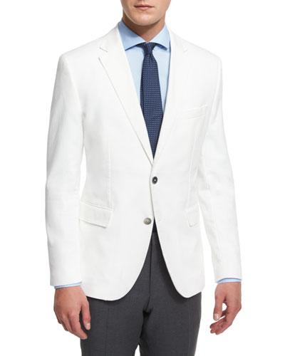 Waffle-Stitch Cotton Two-Button Sport Coat, White