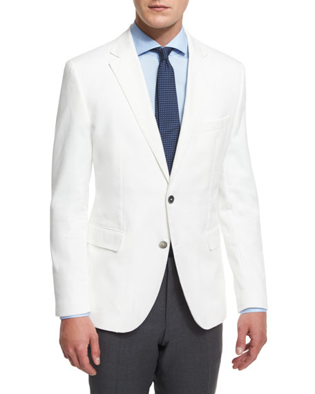 BOSS Waffle-Stitch Cotton Two-Button Sport Coat, White