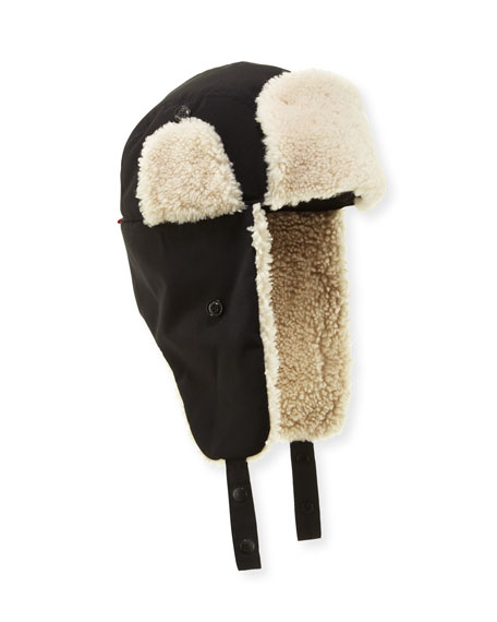 Moncler Shearling-Lined Trapper Hat, Black