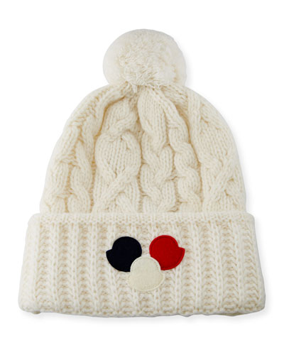 Cable-Knit Pom-Pom Beanie Hat w/Dots