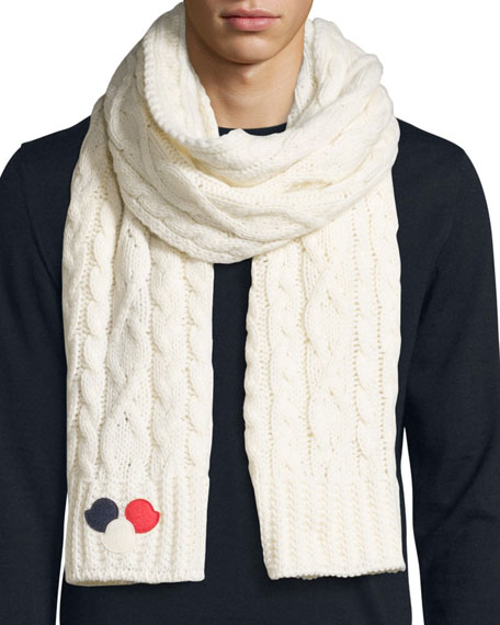 Men's Cable-Knit Wool/Cashmere-Blend Scarf w/Dots