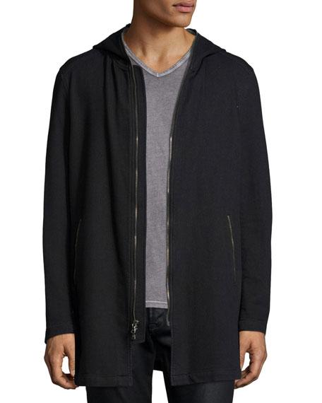 John Varvatos Star USALong-Line Knit Front-Zip Hoodie, Black