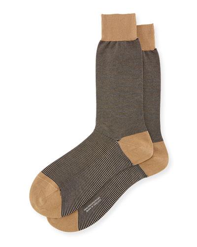 Birdseye Dress Socks, Khaki