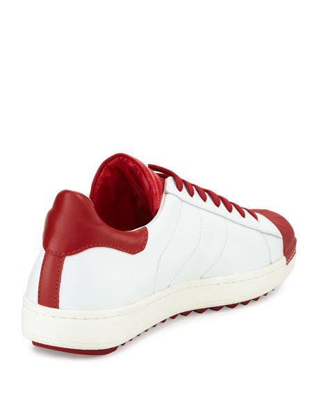 Men's Mr. Moncler Bicolor Low-Top Sneakers, White/Red