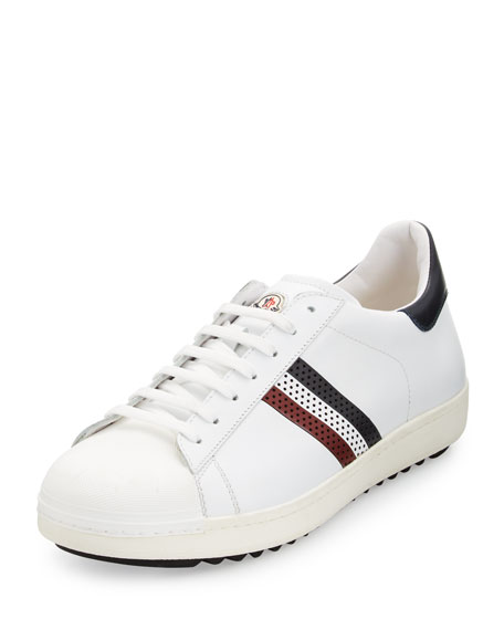 Moncler Perforated Tricolor-Stripe Low-Top Sneaker, White
