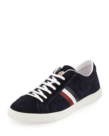 Moncler Tricolor Suede Low-Top Sneaker, Navy