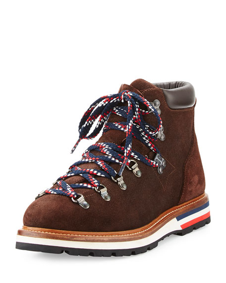 Moncler Men's Fashion Leather Mountain Boot, Brown