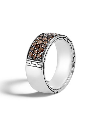 Men's 8.6mm Lava Smoky Quartz Band Ring, Size 10