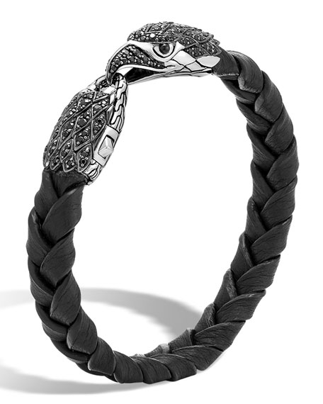 Men's Legends Batu Leather Eagle Bracelet, Black