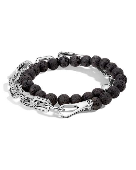 John Hardy Men's Batu Double-Wrap Bead Bracelet, Black