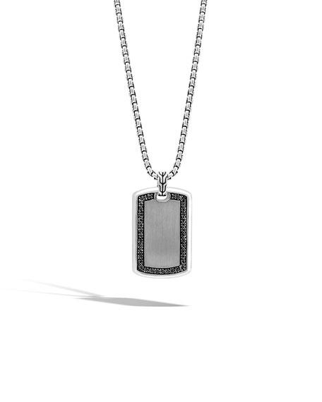 Men's Large Lava Black Sapphire Dog Tag Necklace