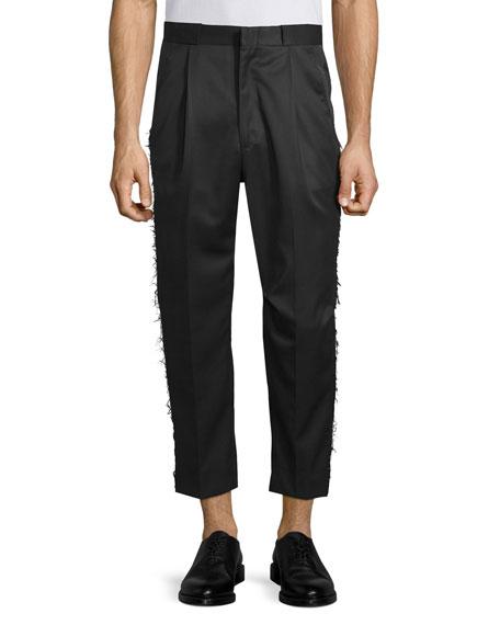 Ovadia & Sons Frayed-Edge Pleated Pant, Black