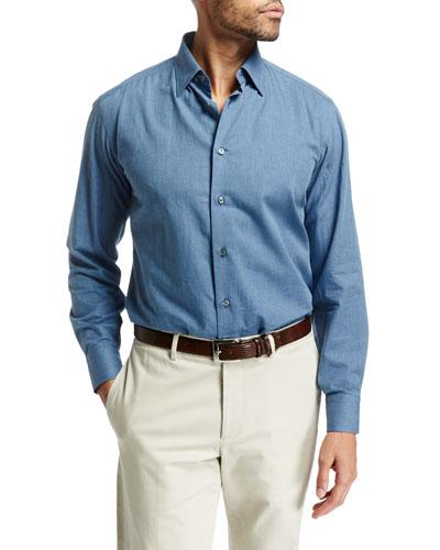 Medium-Wash Chambray Shirt, Blue