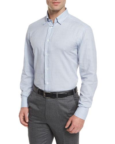 Tonal Plaid Long-Sleeve Sport Shirt, Light Blue