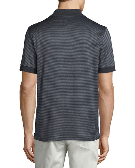 Micro-Grid Jacquard Quarter-Zip Polo Shirt, Gray/Navy