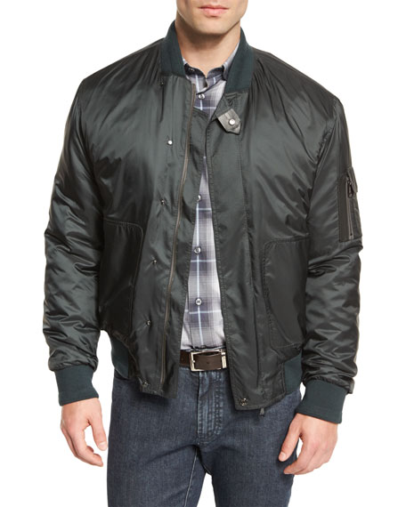 Brioni Nylon Bomber Jacket, Green