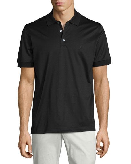 Brioni Jersey Knit Polo Shirt Black Neiman Marcus