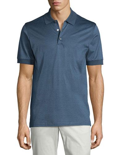 Heathered Knit Polo Shirt, Blue