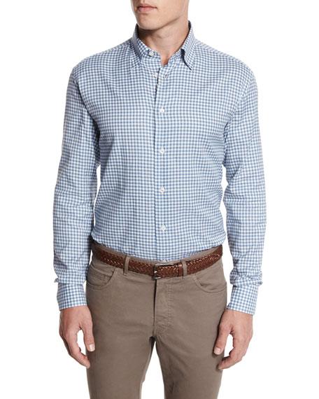 Brioni Gingham Check Sport Shirt, Gray/White
