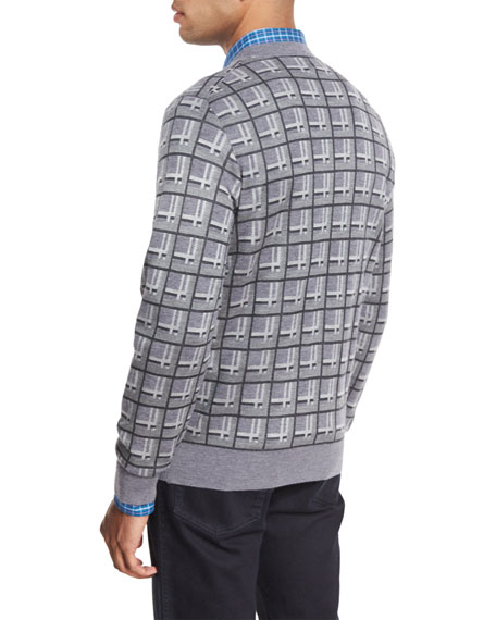 Cashmere-Silk Box Jacquard Sweater, Light Gray