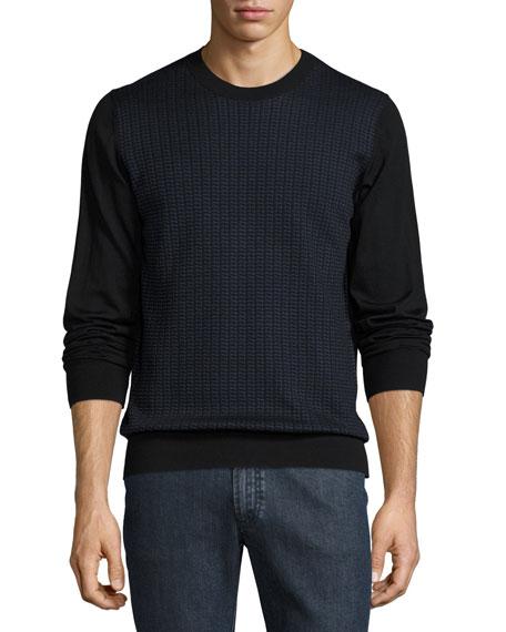Brioni Geometric-Pattern Silk/Wool Sweater, Black/Blue