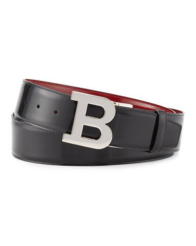 Reversible Leather B-Buckle Belt, Black/Red