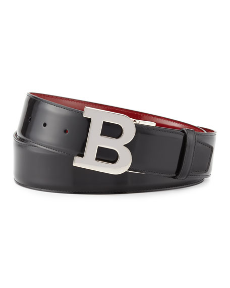 Bally Reversible Leather B-Buckle Belt, Black/Red