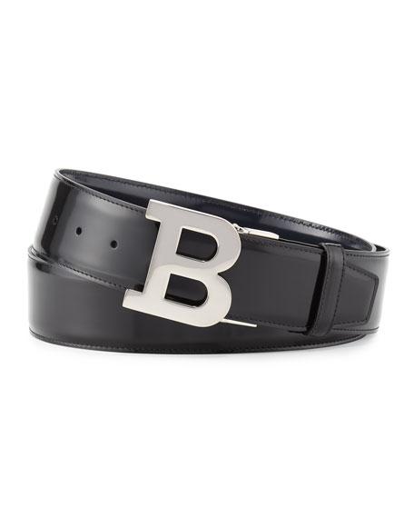 Bally Reversible Leather B-Buckle Belt, Black/New Blue