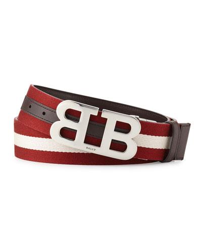Mirror-B Reversible Web-Leather Belt, Brown