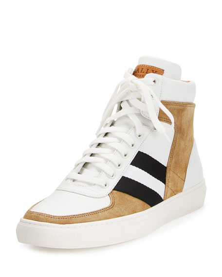 Bally Hewie Leather & Suede High-Top Sneaker, White