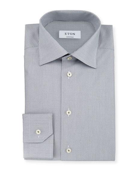 Eton Contemporary-Fit Micro-Print Woven Dress Shirt, Navy