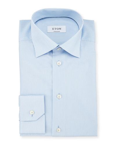Contemporary-Fit Bengal-Striped Woven Dress Shirt, Light Blue