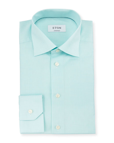 Eton Contemporary-Fit Textured Woven Dress Shirt, Mint