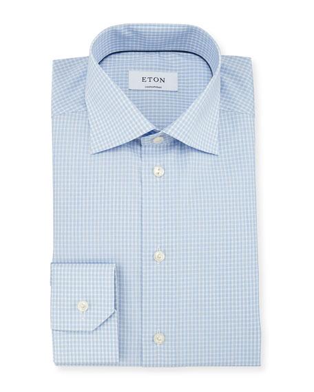 Eton Contemporary-Fit Dobby-Check Woven Dress Shirt, Light Blue
