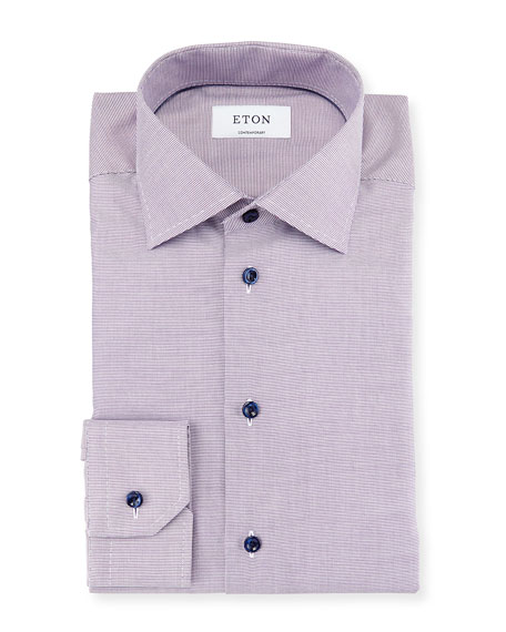 Eton Contemporary-Fit Textured Woven Dress Shirt, Lavender