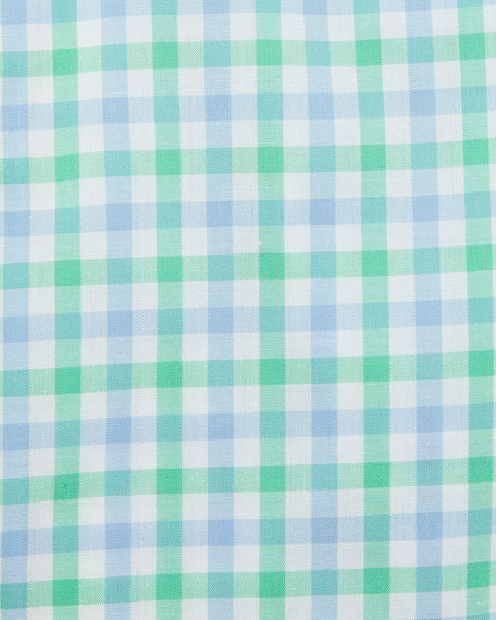 Two-Tone Gingham Mitered-Cuff Dress Shirt
